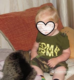 Костюмчик летний, футболка и камуфляжные шорты, чисто мальчуковый