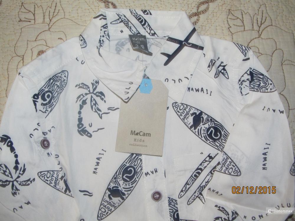Рубашка светлая с принтом для мальчика