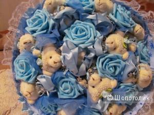 Букет роз с мишками