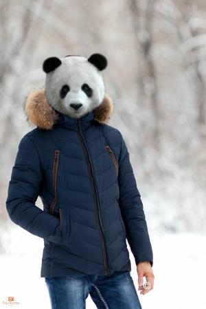 Мужская куртка с мехом енота