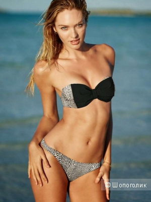 Продам купальник Бандо Bow Bandeau Top, р. 34С, и плавки Ruched Cheeky Bottom, р. S - Victoria's Secret