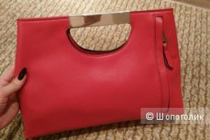 Яркая сумка-клатч, цвет коралловый, р. 33х25 см
