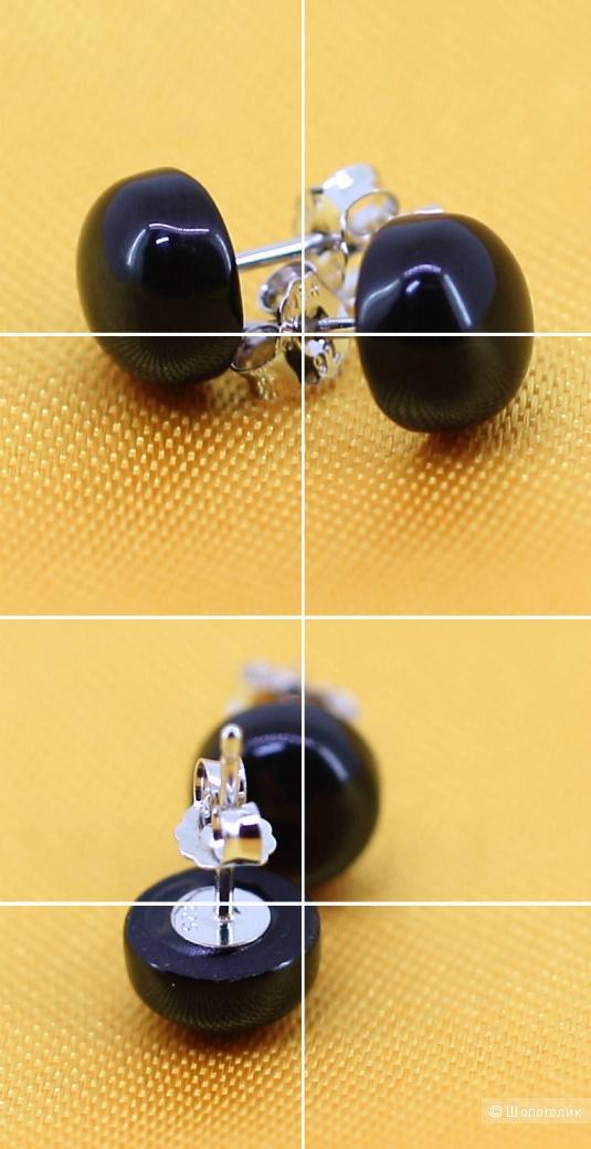 Серебряные серьги с чёрным-чёрным ониксом