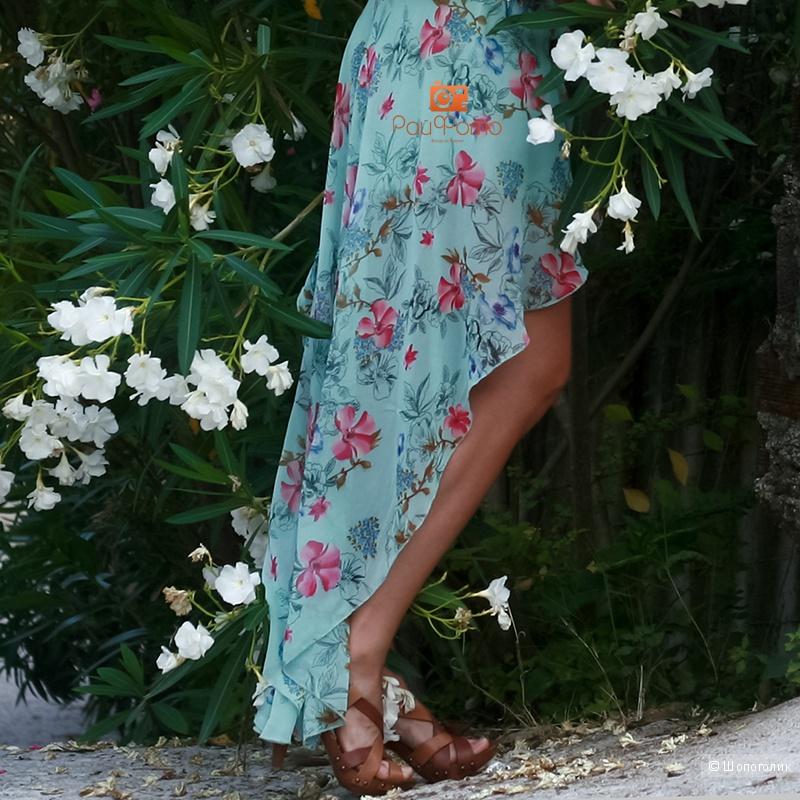 Красивый сарафан ASOS мятного цвета короткий со шлейфом