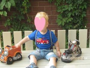 Футболка детская синяя, с машинкой