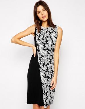 Креповое платье с принтом пейсли, French Connection, р. UK 6