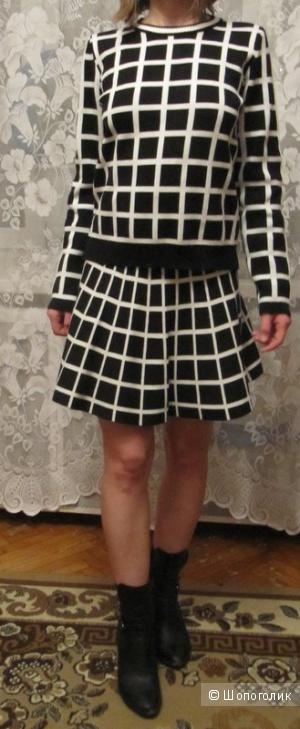 Комплект юбка и кофта в клетку
