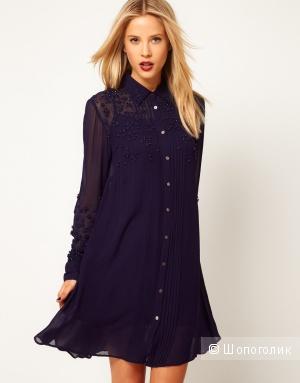 Платье рубашка Asos c вышивкой uk 6