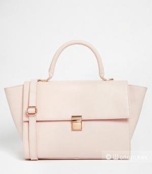 Кожаная сумка пудрового оттенка