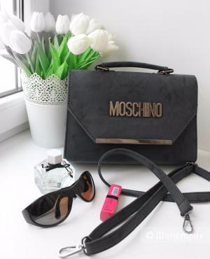 Серая сумка матового оттенка Moschino