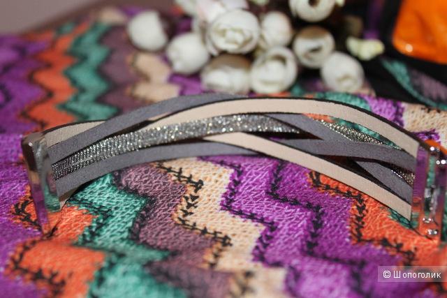 Очень красивый плетеный браслет из pu кожи
