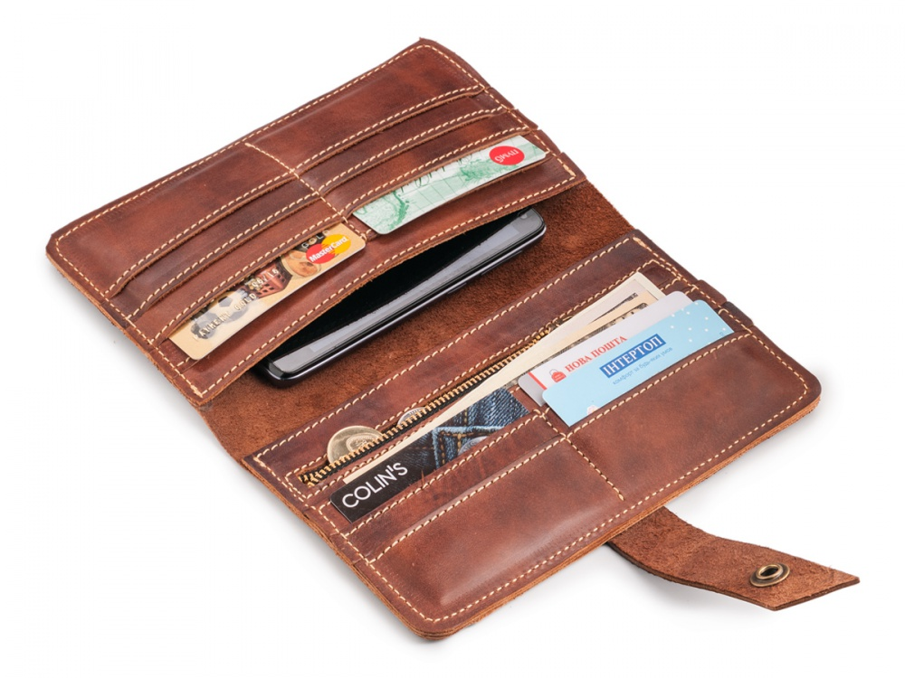 Мужской кошелек- клатч BIG MAN натуральная телячья кожа, цвет коричневый.