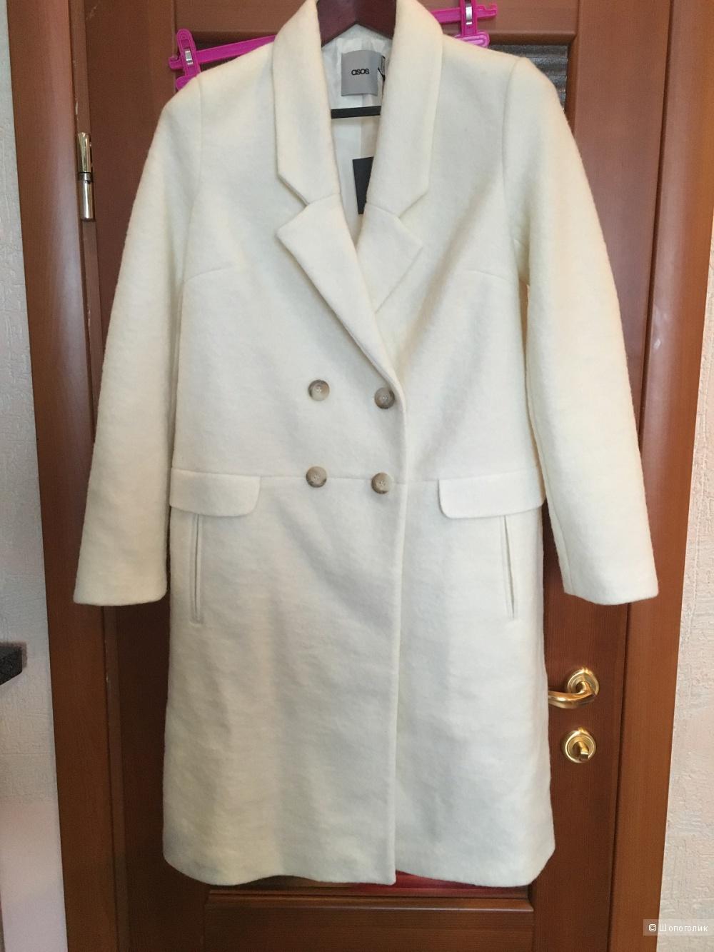 Белое шерстяное пальто с Asos