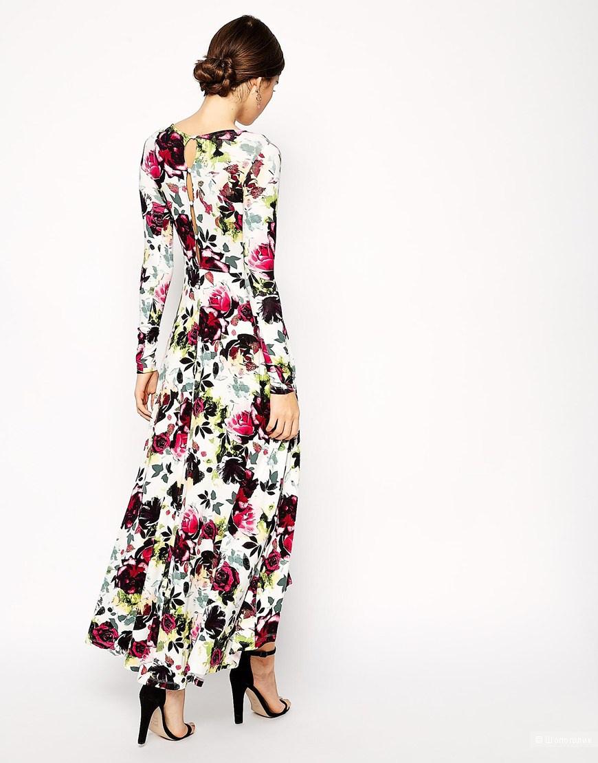 Трикотажное платье макси с цветочным принтом и асимметричным подолом ASOS PETITE