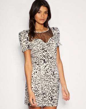 Леопардовое кремовое платье с кружевом