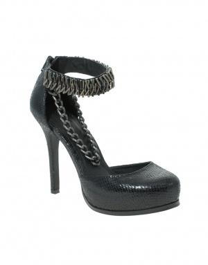 Черные туфли с цепочкой под рептилию Asos