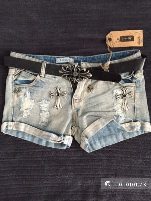 Классные джинсовые шорты с поясом
