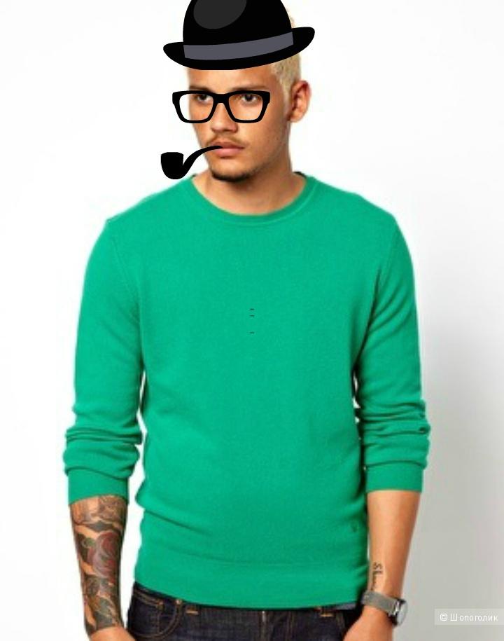 Новый мужской шерстяной джемпер ярко- зеленого цвета Benetton (Италия) р.S