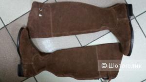 Новые замшевые сапоги - ботфорты  размер 36