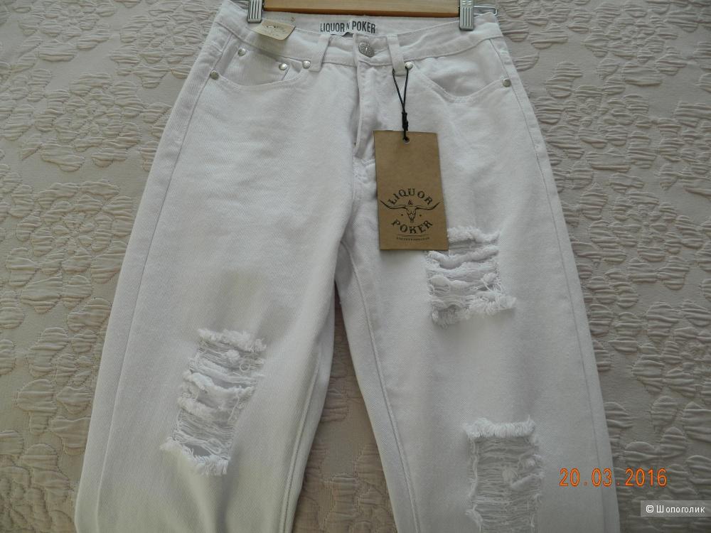Белые джинсы Liquor & Poker Mom