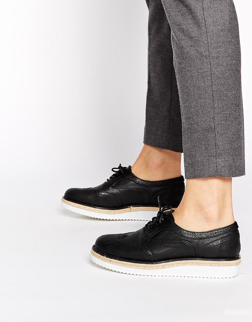 Черные туфли на плоской платформе New Look Limehouse, новые, кожзам, р. 7UK