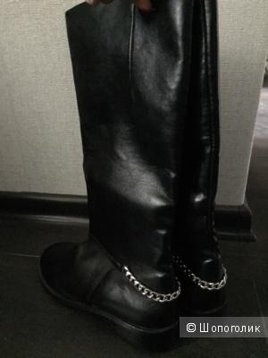 Сапоги кожаные с цепью