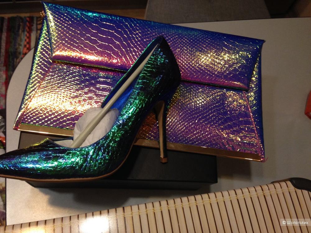 Нарядные туфли-лодочки на шпильке Dune, нат. кожа и клатч New Look цвета металлик