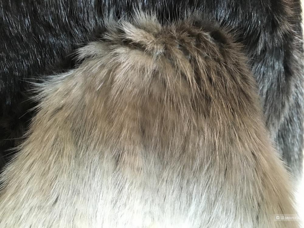 Куртка из вязаной норки с эффектом омбрэ. Размер М (на 42-46).