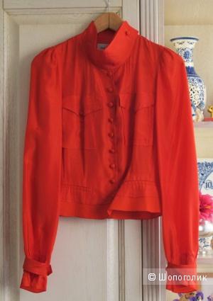 Алая шелковая блузка Yves Saint Laurent, Fr 36. Б/у