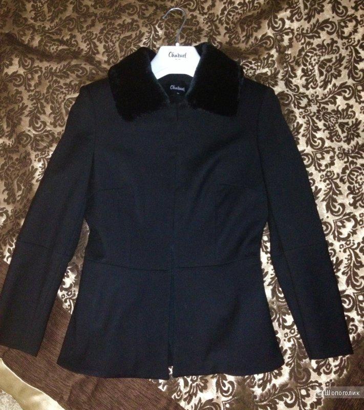 Жакет оригинальный  шерстяной Charuel, 40 размер черного цвета. Новый в чехле