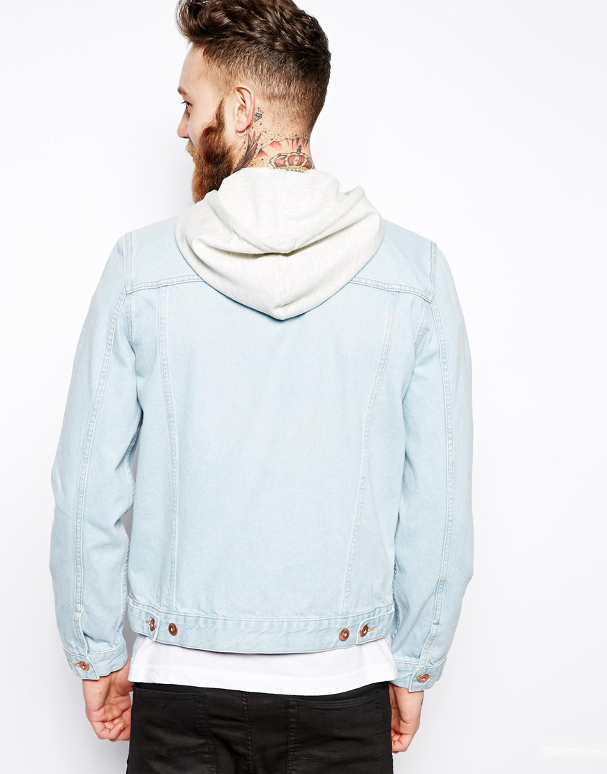 Мужская джинсовая куртка с трикотажным капюшоном, М