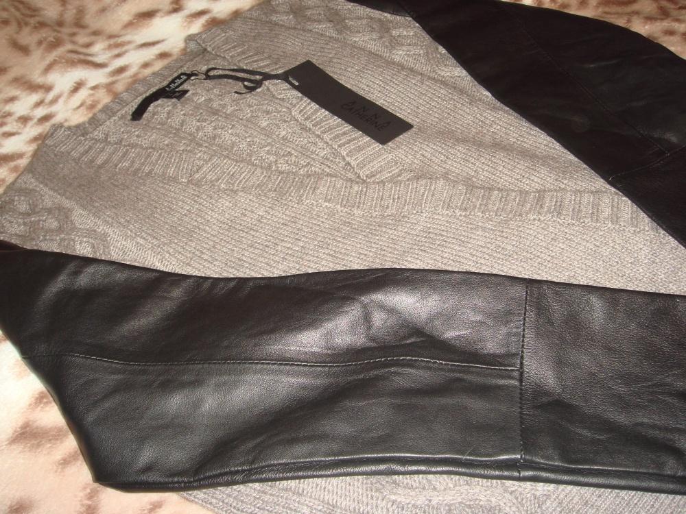 Новый шерстяной кардиган с кожаными рукавами ANNA CATHERINE S