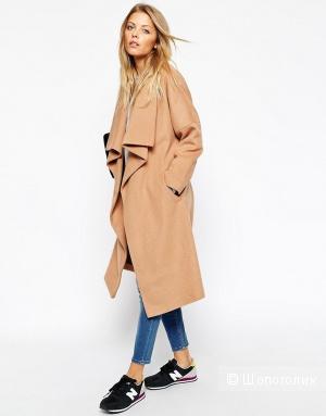Модное удлиненное пальто Asos с каскадной драпировкой, 51% шерсти, новое, 46-50