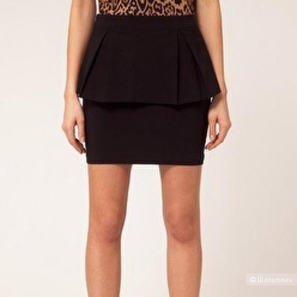 Черная качественная юбка с баской