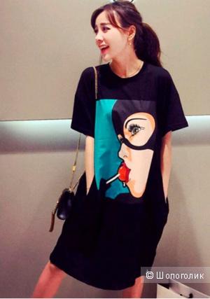 Платье-футболка с принтом-комиксом