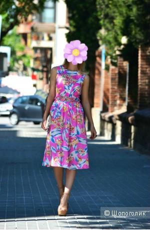 Летнее вискозное платье Midi Summer Dress With Floral Cut Out Waist р.14UK (48рус)