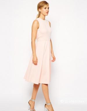 Приталенное розовое платье миди со складками и вырезом на спине ASOS