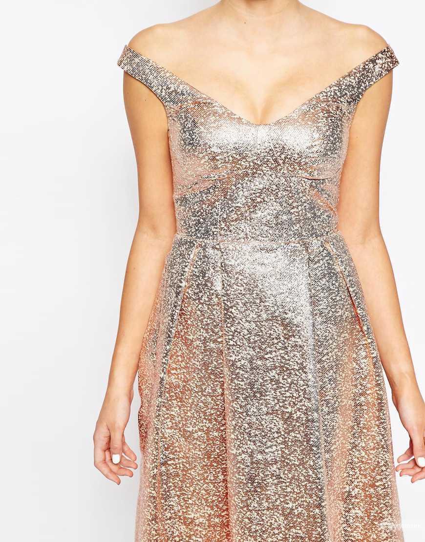 Lashes of London Bardot Full Prom Midi Dress платье с открытыми плечами