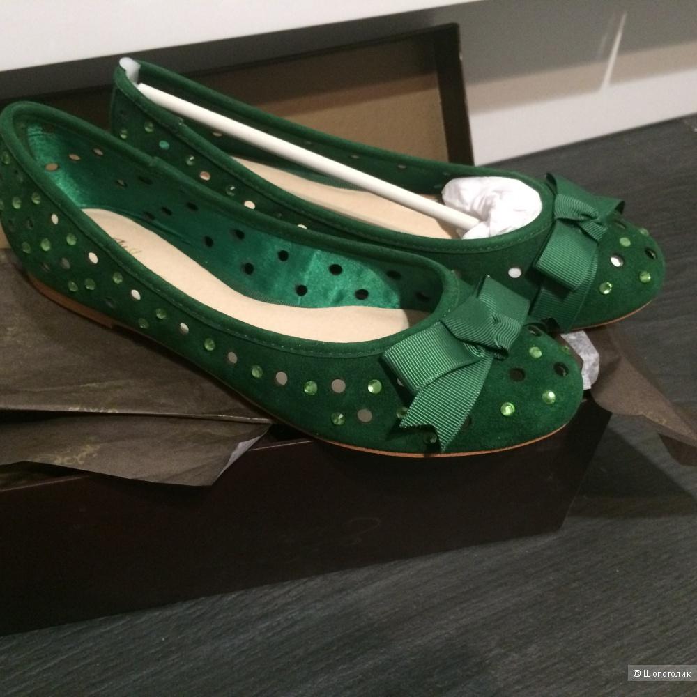 Зелёные замшевые балетки Just Couture со стразами