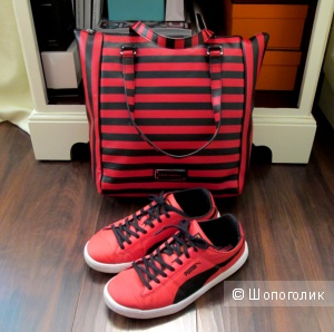 Красно-черная кожаная сумка Marc by Marc Jacobs