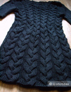 Черное вязаное платье 44-46 с легким люрексом. 500 рублей