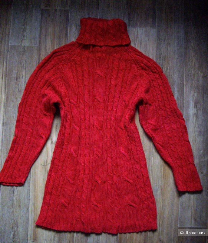 Платье вязаное красное 46-48