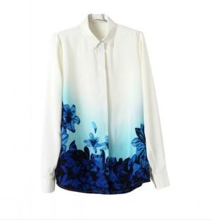 Новая Блузка рубашка с принтом синие цветы, S/XS