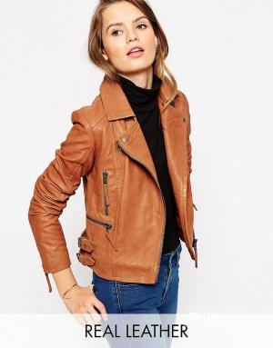 Кожаная байкерская куртка с пряжками ASOS Premium