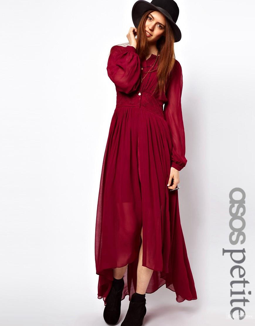 Новое платье-макси с расшитой вставкой на талии ASOS PETITE размера UK4