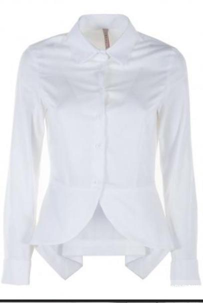 12950c7b556 Белая рубашка с ассиметричной оборкой пеплум (Италия).