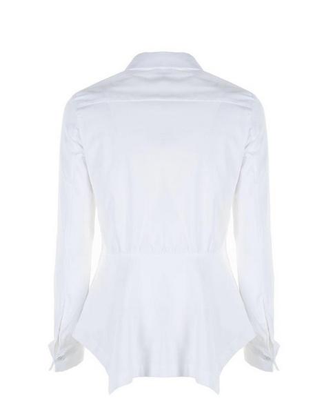Белая рубашка с ассиметричной оборкой пеплум (Италия).
