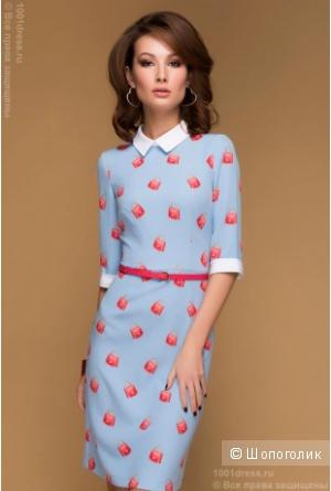 Новое платье-футляр с принтом, белыми манжетами и воротничком XS 1001dress