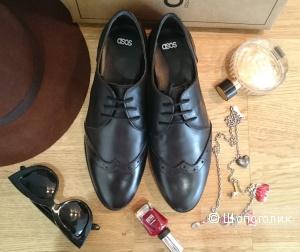 Продам стильные кожаные броги для широкой стопы ASOS р-р UK7