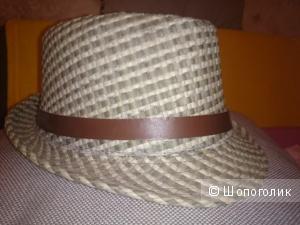 Шляпа мужская летняя Новая плетеная размер М Очень модная мужская шляпа